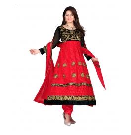 Red Color Net Designer Anarkali Suit