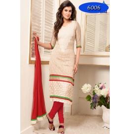 Cream Embroidred Chanderi Straight Salwar Suit