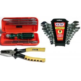 Ketsy 601 Hand Tool Kit 15 Pcs.(combination Plier Coloured Sleeve 8 Inch, Scredriver Set Of 6 Pcs.,doe Spanner Set Of 8 Pcs.
