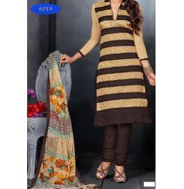 Cream/brown Embriodered Cotton Churidar Salwar Suit