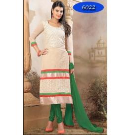 Green Embriodered Chanderi Straight Salwar Suit