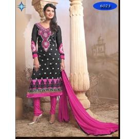 Black Embriodered Chanderi Straight Salwar Suit