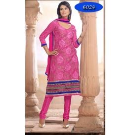 Red Embriodered Chanderi Straight Salwar Suit