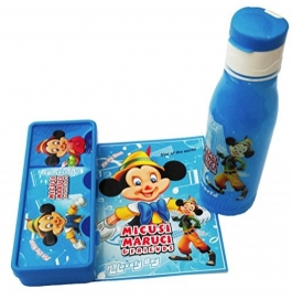 Disney Printed Combo Gift Set of Pencil Box and Water Bottle for Kids - Blue
