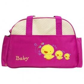 Water Repellent D-shape Baby Diaper / Nappy Changing Duck Print Multi-purpose Mother Shoulder Nursery Travel Messenger Bag (megenta)