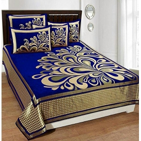 Fresh From Loom 500 Tc Premium Chenille Febric Double Bedsheet With 2 Pillow Cover