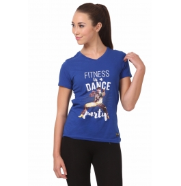 Crush Fitness Women Cotton Dance Party Blue T-shirt