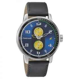 Fastrack Men's Analogue Blue, Yellow Dial Watch - 3159sl02
