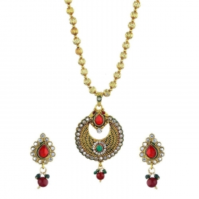 Antique Gold Plated Pendant Set with Chain and Earrings Jewellery for Girls and Women
