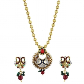 CZ Designer Peacock Pendant Set with Chain and Earrings Jewellery for Girls and Women