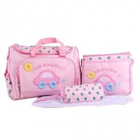 4pcs Baby Diaper Nappy Bag Backpack Mummy Bag Womens Handbag Tote For Mom Travel (pink)