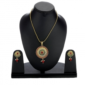 Red & Green Round Shape Designer Kundan Pendant Set with Chain and Earrings Jewellery for Girls and Women