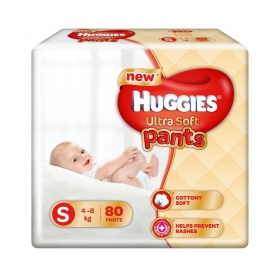 Huggies Ultra Soft Small Size Premium Diapers (80 Counts)