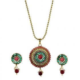Red & Green Precious Kundan Pendant Set with Chain and Earrings Jewellery for Girls and Women