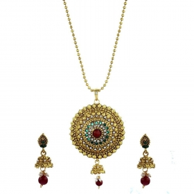 Red & Green Precious Round Shaped Pendant Set with Chain and Earrings Jewellery for Girls and Women