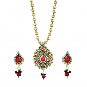 Gold Plated Precious Pendant Set with Chain and Earrings Jewellery for Girls and Women