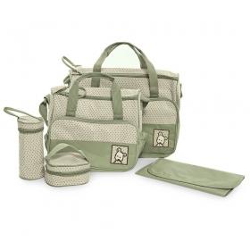 5pcs/set Baby Diaper Bag Nappy Mummy Bag Print Maternity Handbag Changing Baby Messenger Bag (green)
