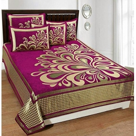 Velvet Bedsheet King Size (premium 500 Tc Chenille 1 Douboe Bedsheet With 2 Pillow