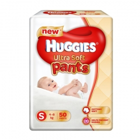 Huggies Ultra Soft Small Size Premium Diapers (50 Counts)