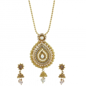 Precious Gold Plated Pendant Set with Chain and Earrings for Girls and Women