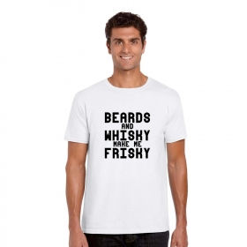 Beards And Whisky Make Me Frisky Printed Mens T-shirt Cotton Half Sleeves