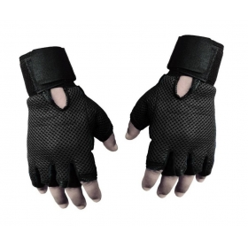 Genuine Leather Netted Gym & Fitness Gloves With Wrist Support