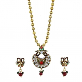 CZ Peacock Pendant Set with Chain and Earrings Jewellery for Girls and Women