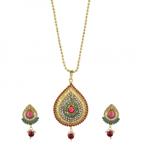Antique Designer Kundan Pendant Set with Chain and Earrings Jewellery for Girls and Women