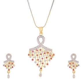 Silver Red Gold Plated Pendant Set Jewellery For Women and Girls