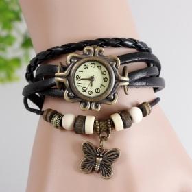 Charming Bracelet Cheap Black Unique Multi Layer Casual Embellishment Watch
