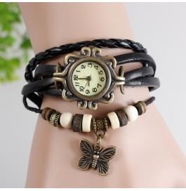 Charming Bracelet Black Unique Multi Layer Casual Embellishment Watch