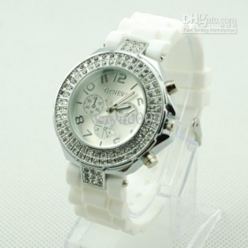 Geneva Double Diamond White Watch For Women Silicone Strap Shiny 3 Eyes Watch