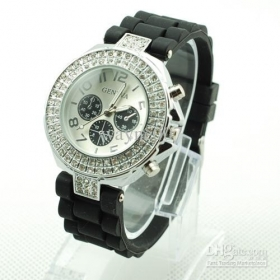 Geneva Double Diamond Black Watch For Women Silicone Strap Shiny 3 Eyes Watch