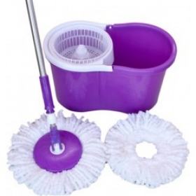 Clean 360 Bucket Spin Mop (two Microfiber Mop Heads Free) Purple