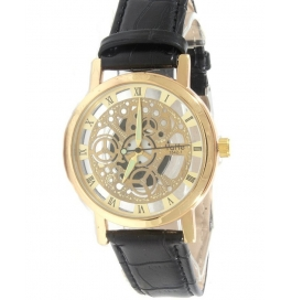 New Stylish Transperant Gold Black Men's Watch With Extra Free Cell