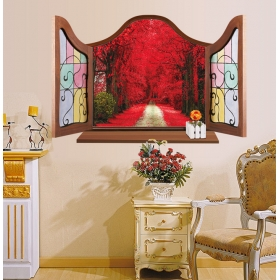 Mj8017a Red Tree Window Nature Wall Sticker  Jaamso Royals