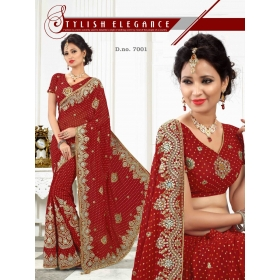 Fashion Care Red Color Viscose Heavy Embroidery Saree.