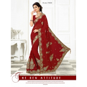 Fashion Care Red Color Viscose Heavy Embroidery Saree