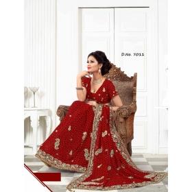 Fashion Care Red Color Viscose Heavy Embroidery Saree.