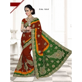 Fashion Care Red And Green Color Viscose Heavy Embroidery Saree