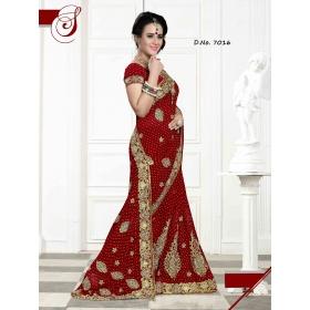 Fashion Care Red Color Viscose Heavy Embroidery Saree