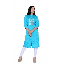 Pari Creation Women's Light Blue Gota Patti Rayon Straight Fit Kurti