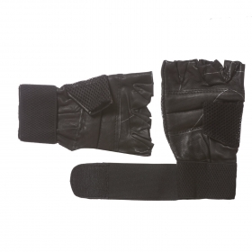 Leather Gym Gloves With Wrist Support, Men's Free Size (black)