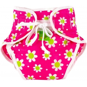 Reusable Swim Diaper Pink Daisies Size , Medium