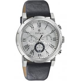 Titan Purple Collection Silver White Dial Mens Analog Watch- 90050sl01j