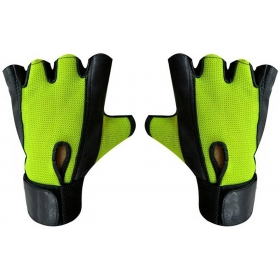 Netted Wrist Support Gym & Fitness Gloves (green)