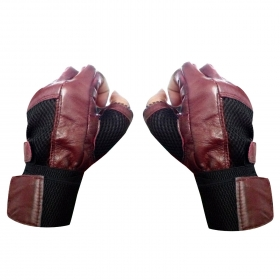 High Quality Netted Leather Palm Support Gym & Fitness Gloves (free Size, Maroon)