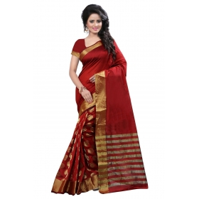 Poplin Women's Cotton Silk Formal Wear  Red Sarees