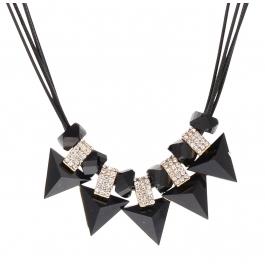 Prism Shaped Black And Golden Diamond Embedded Neckpiece