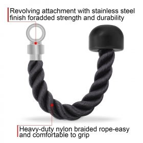 Tricep Rope Single Grip Pull Down Bicep Cable Attachment Exercises Black Nylon 14.5